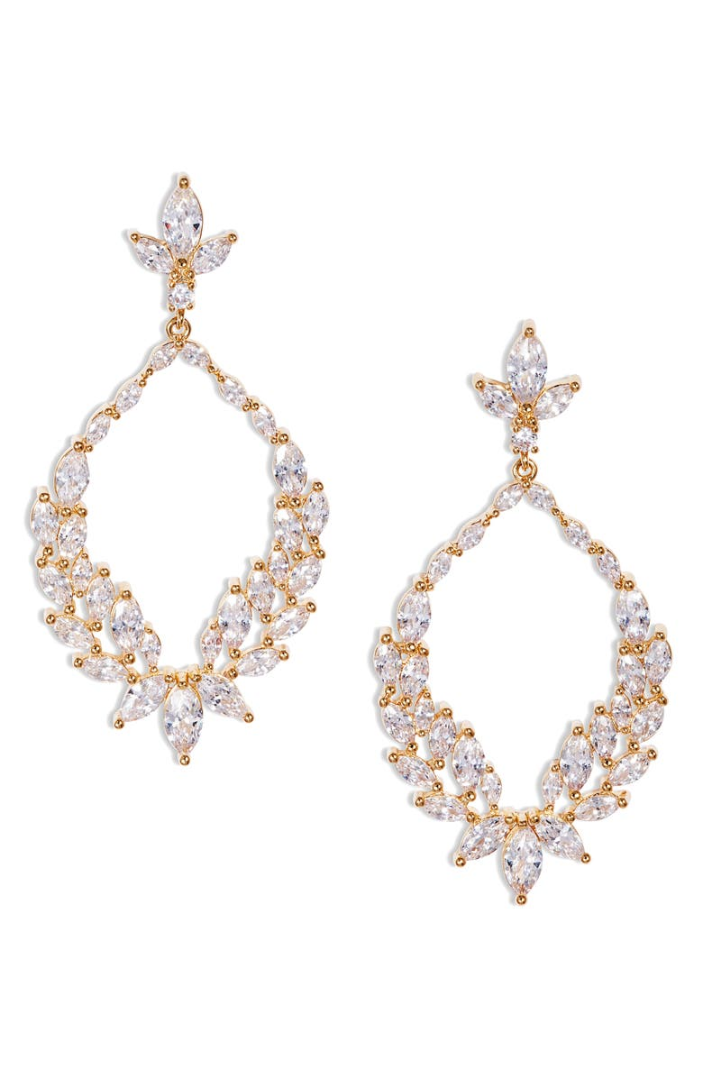 NORDSTROM Cubic Zirconia Open Drop Earrings, Main, color, CLEAR- GOLD