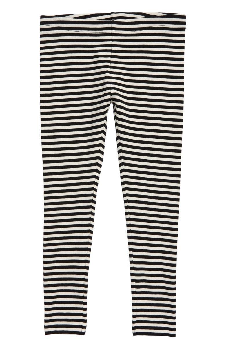 TUCKER + TATE Stripe Leggings, Main, color, BLACK- IVORY STRIPE