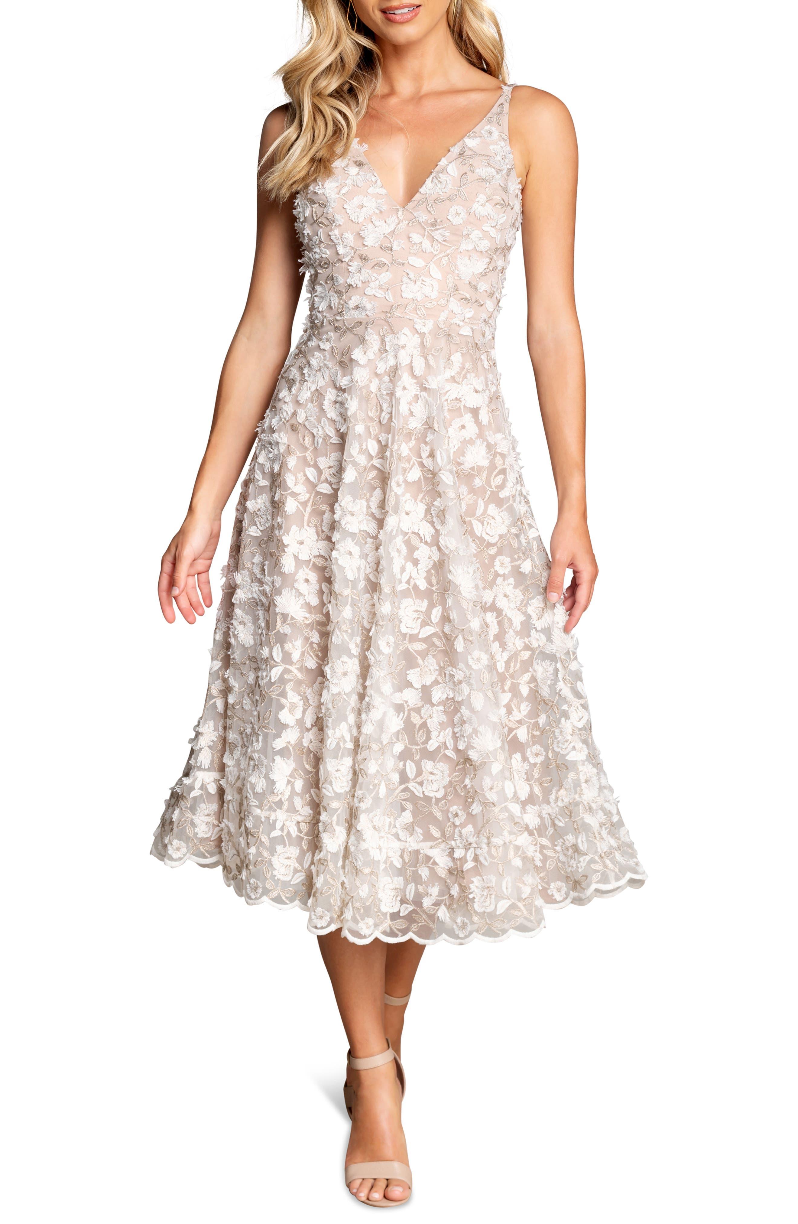 Elisa Embroidered Fit & Flare Midi Dress