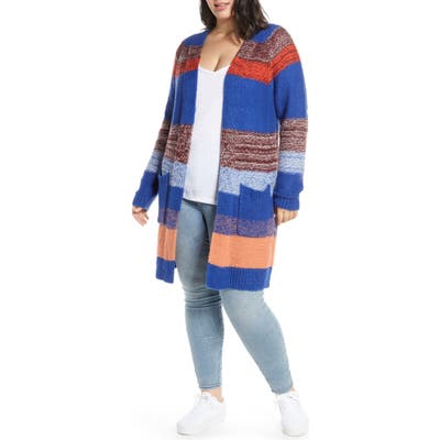 Plus Size Bp. Bold Stripe Longline Cardigan, Blue