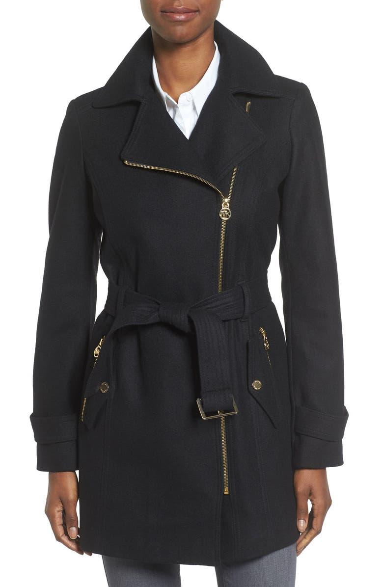 MICHAEL MICHAEL KORS Belted Asymmetrical Wool Blend Coat, Main, color, 001