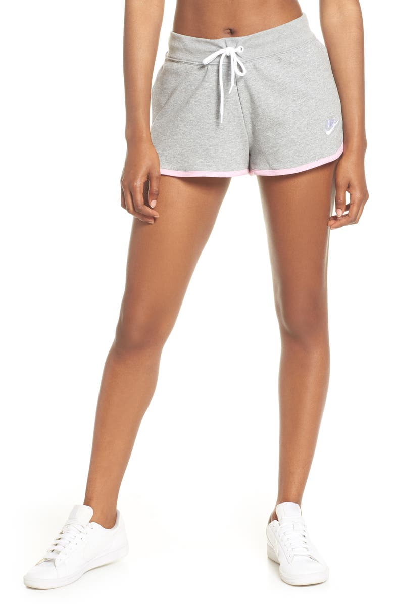 NIKE Sportswear Heritage Fleece Shorts, Main, color, DK GREY HEATHER/ WHITE/ WHITE