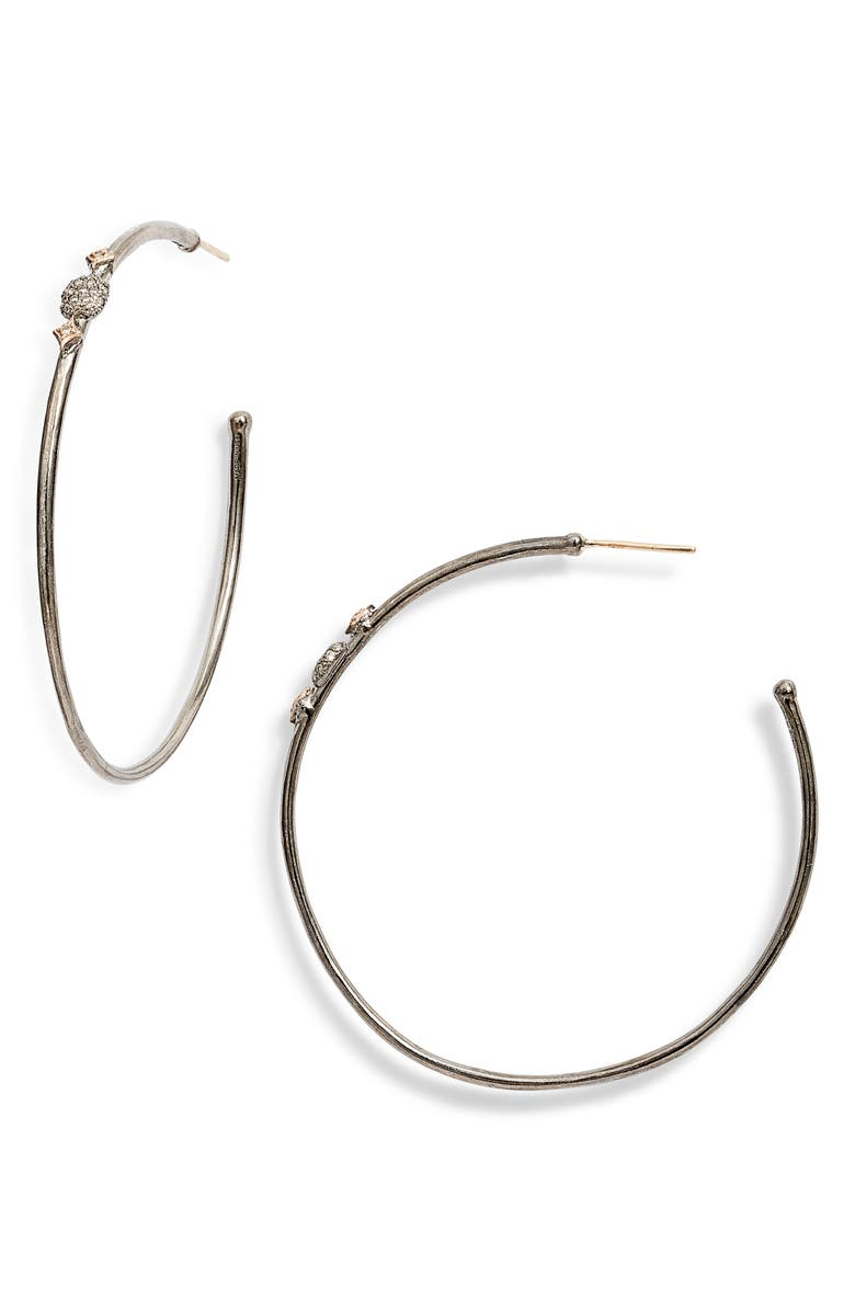 ARMENTA New World Diamond Hoop Earrings, Main, color, SILVER/ GOLD