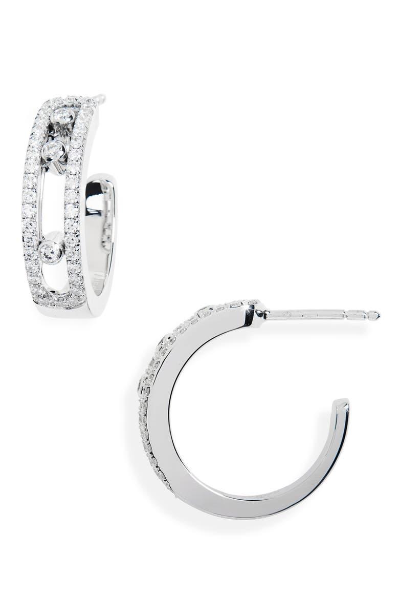 MESSIKA Move Diamond Hoop Earrings, Main, color, WHITE GOLD