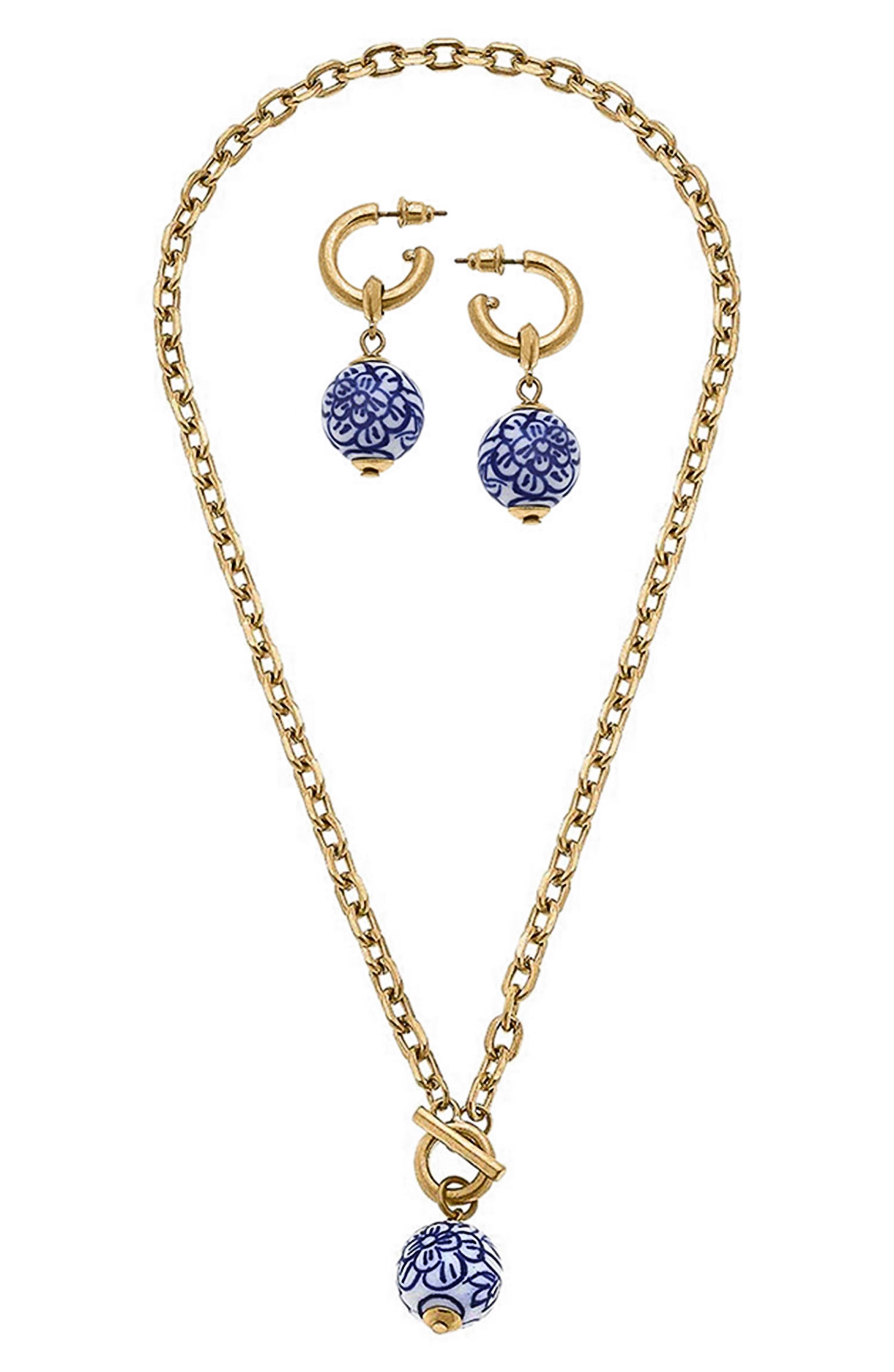Drop Earrings & Pendant Necklace Set