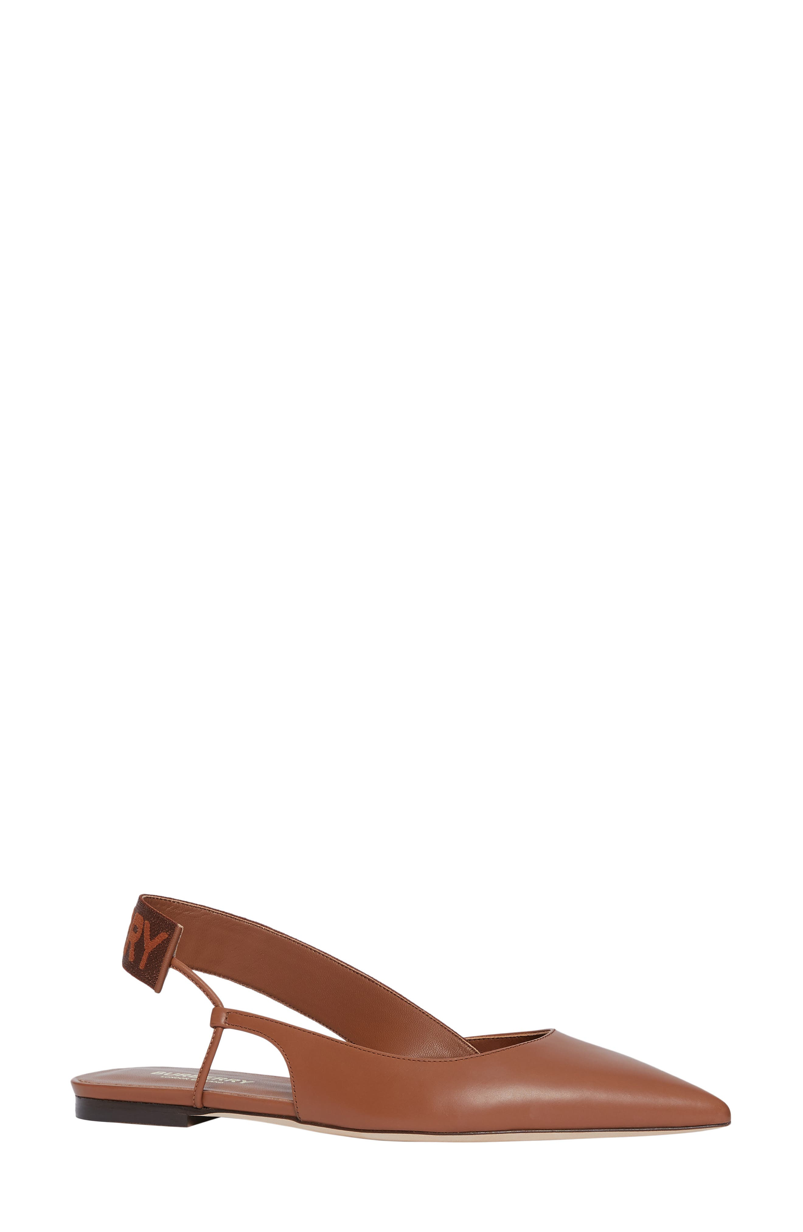 Burberry Maria Asymmetrical Slingback Flat - Brown