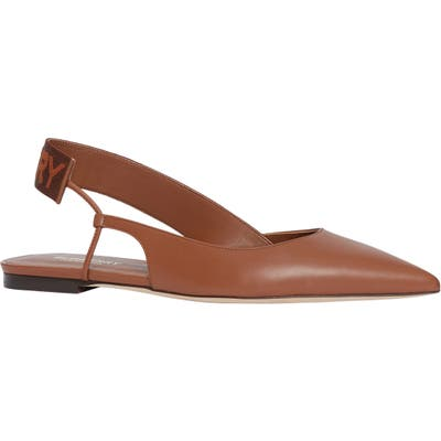 Burberry Maria Asymmetrical Slingback Flat - Brown