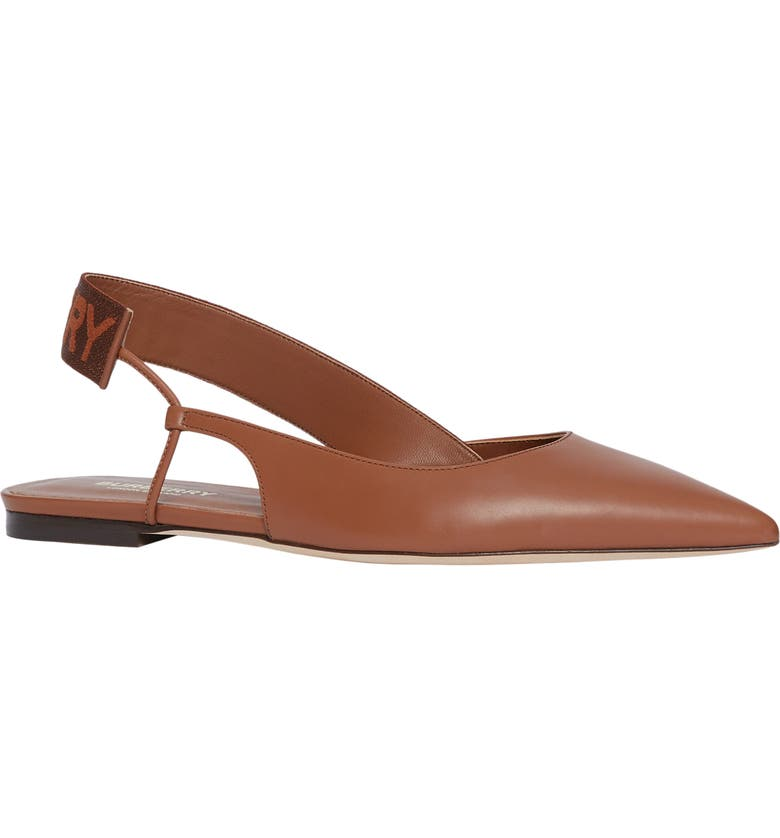 BURBERRY Maria Asymmetrical Slingback Flat, Main, color, TAN