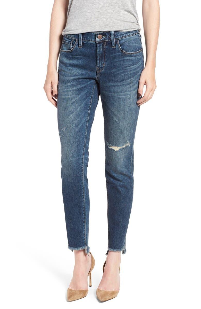 TREASURE & BOND Treasure&Bond Ripped Step Hem Skinny Boyfriend Jeans, Main, color, 400
