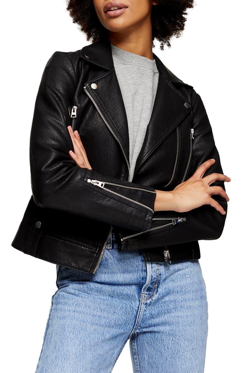 TOPSHOP Fred Faux Leather Biker Jacket, Main, color, BLACK