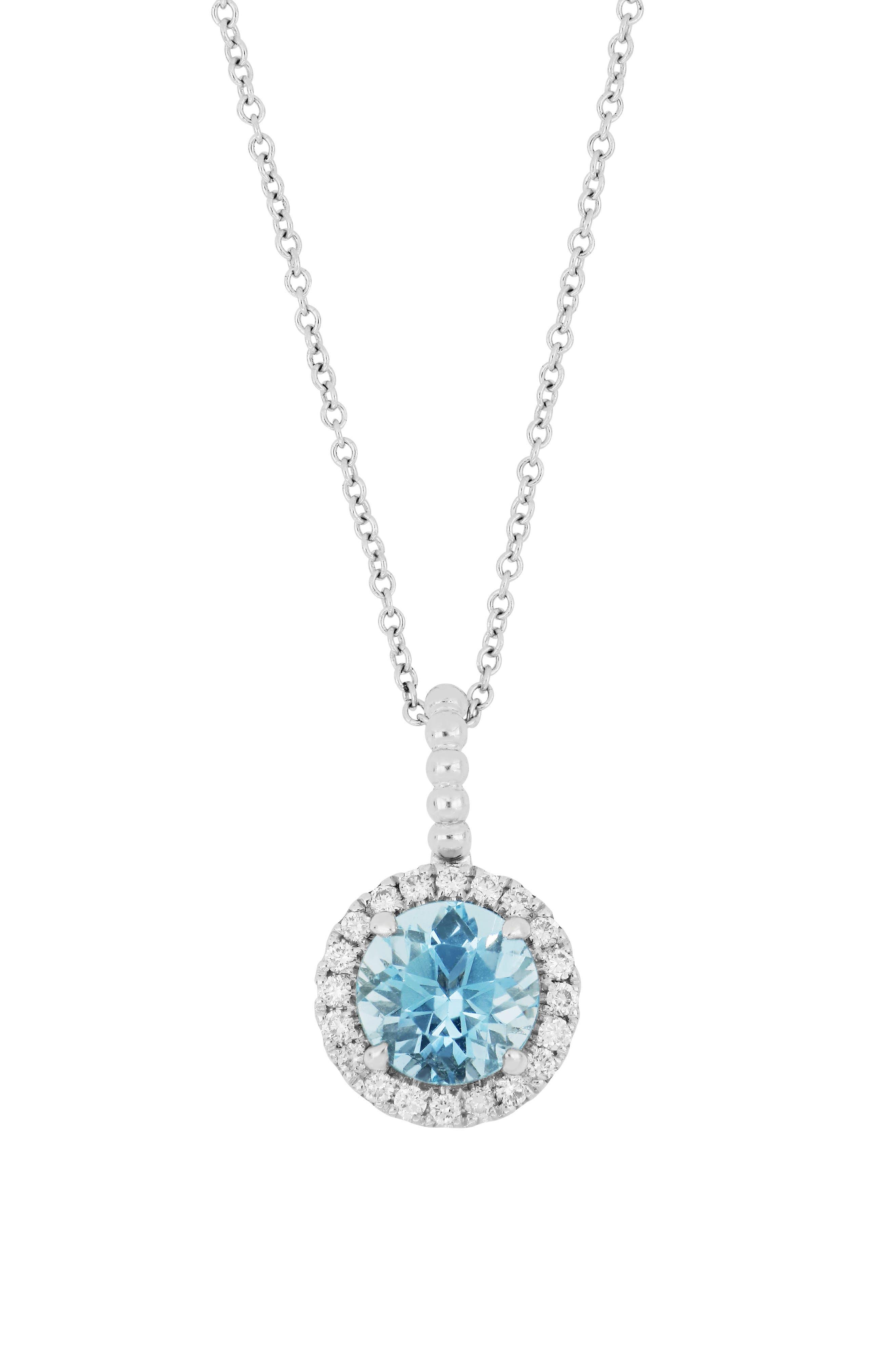 Diamond & Aquamarine Pendant Necklace (Nordstrom Exclusive)