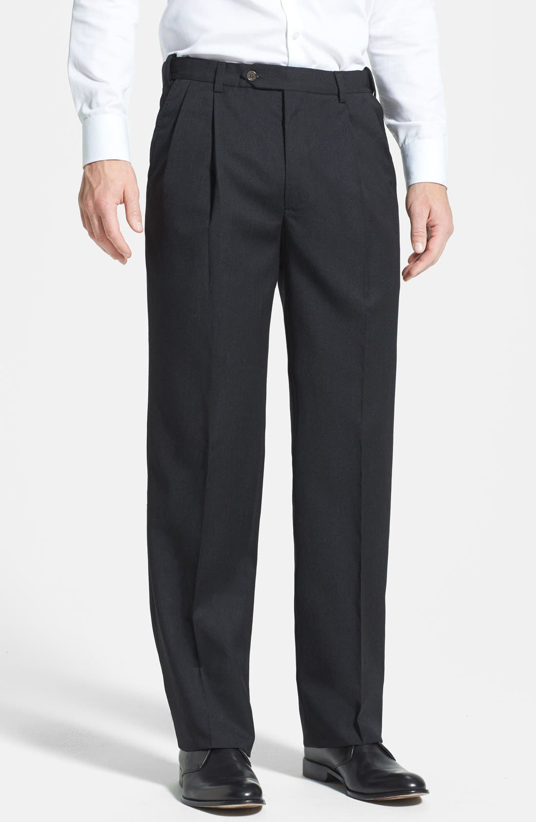 Self Sizer Waist Pleated Classic Fit Wool Gabardine Dress Pants