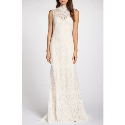 Tadashi Shoji Back Detail Lace Wedding Dress, Ivory