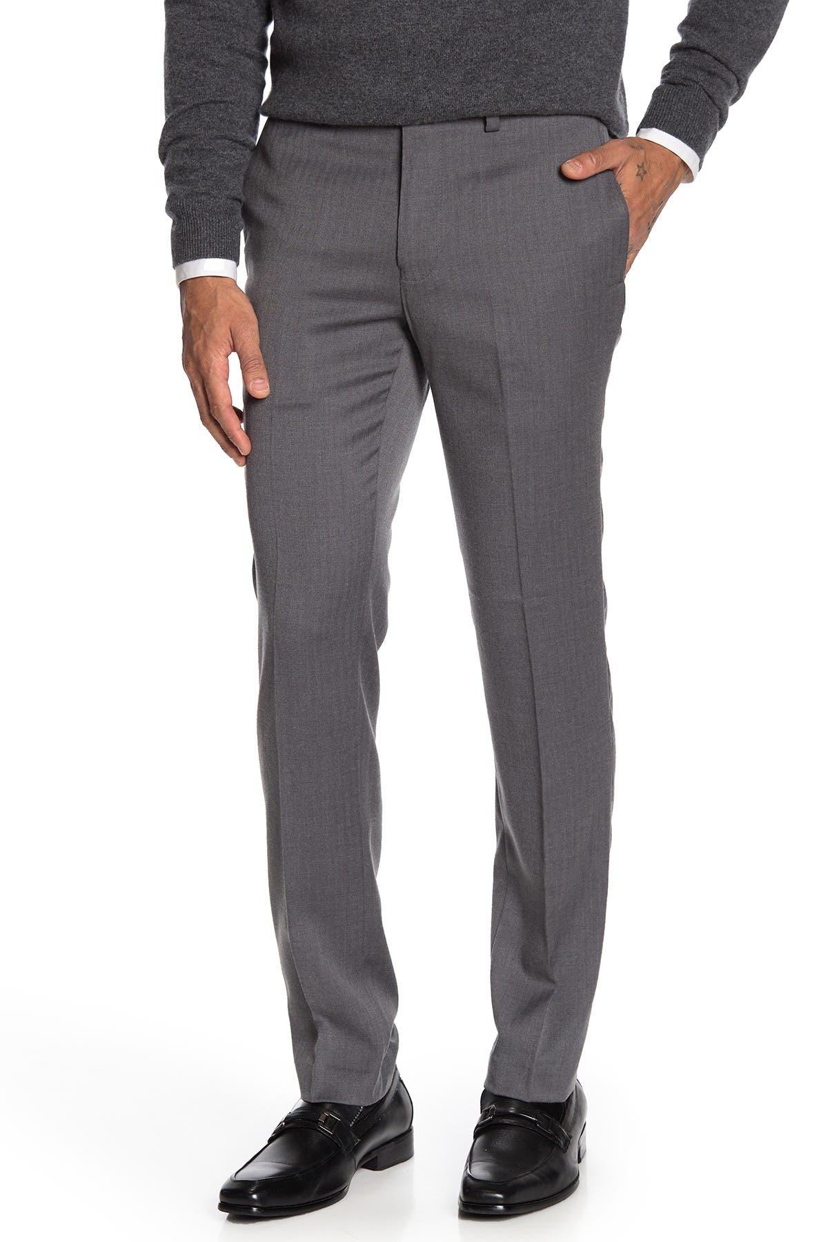 "Image of Louis Raphael Mini Herringbone Slim Fit Pants - 30-34"" Inseam"