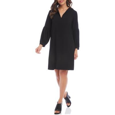 Karen Kane Split Neck Long Sleeve Crepe Dress, Black