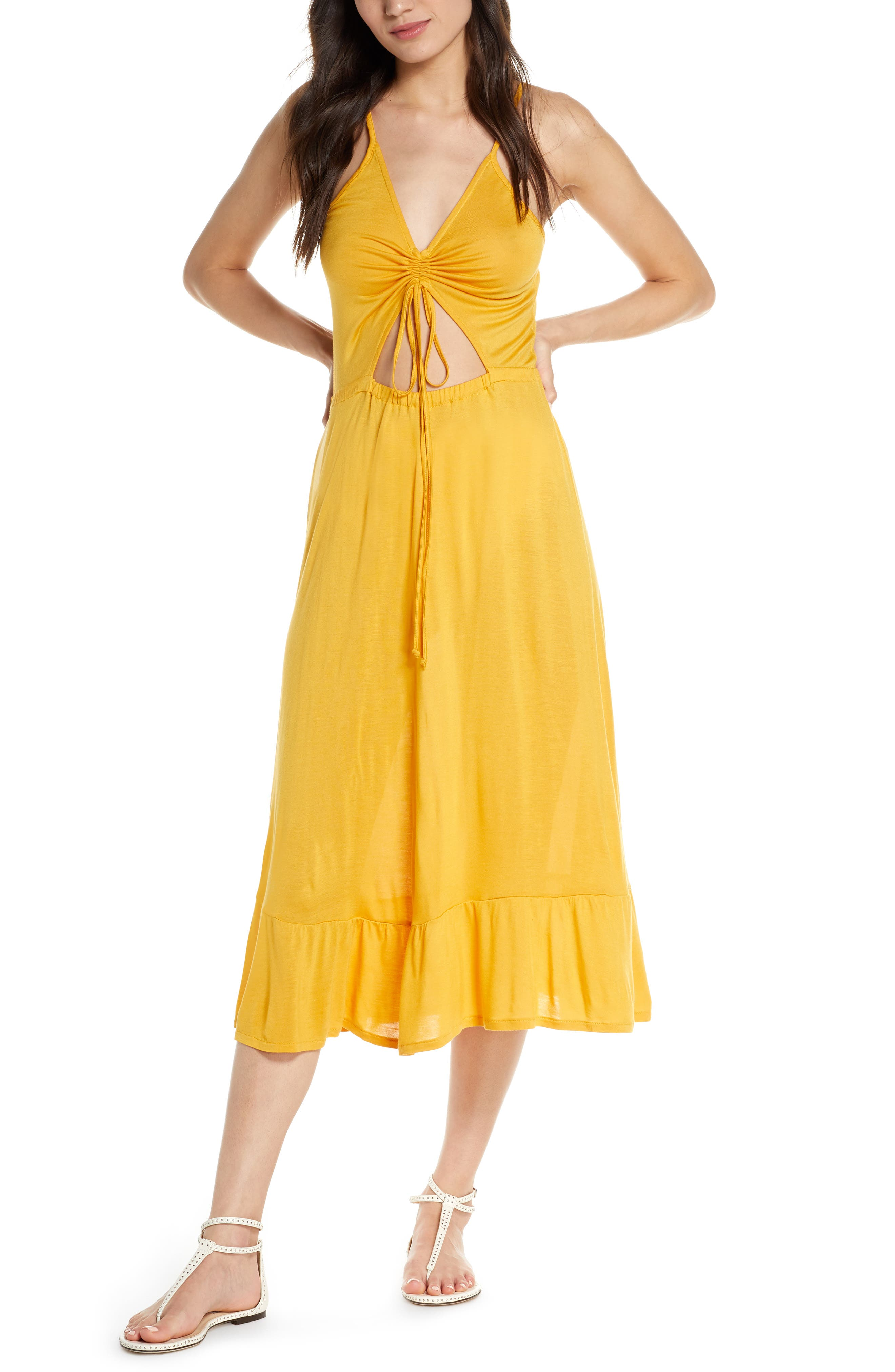 Chelsea28 Breezy Cinch Front Cover-Up Dress, Yellow