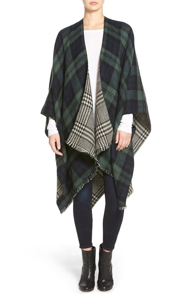 MODENA 'Double Plaid' Reversible Cape, Main, color, 300