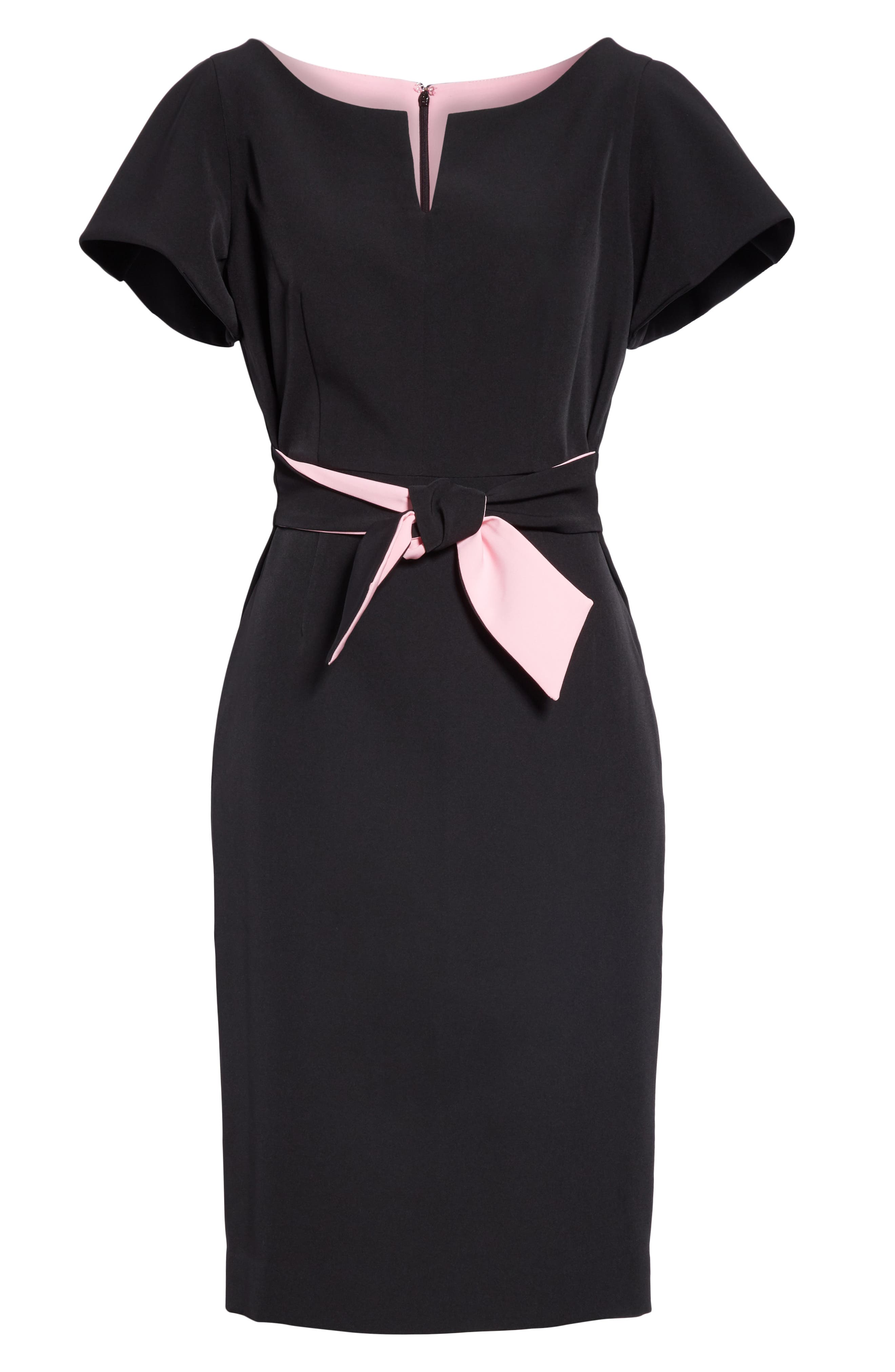 ,                             Tina Italian Cady Belted Dress,                             Alternate thumbnail 6, color,                             001