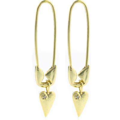 Adornia Diamond Heart Safety Pin Earrings