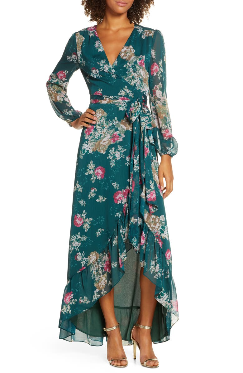WAYF The Meryl Floral Long Sleeve Wrap Gown, Main, color, PINE BOUQUET FLORAL
