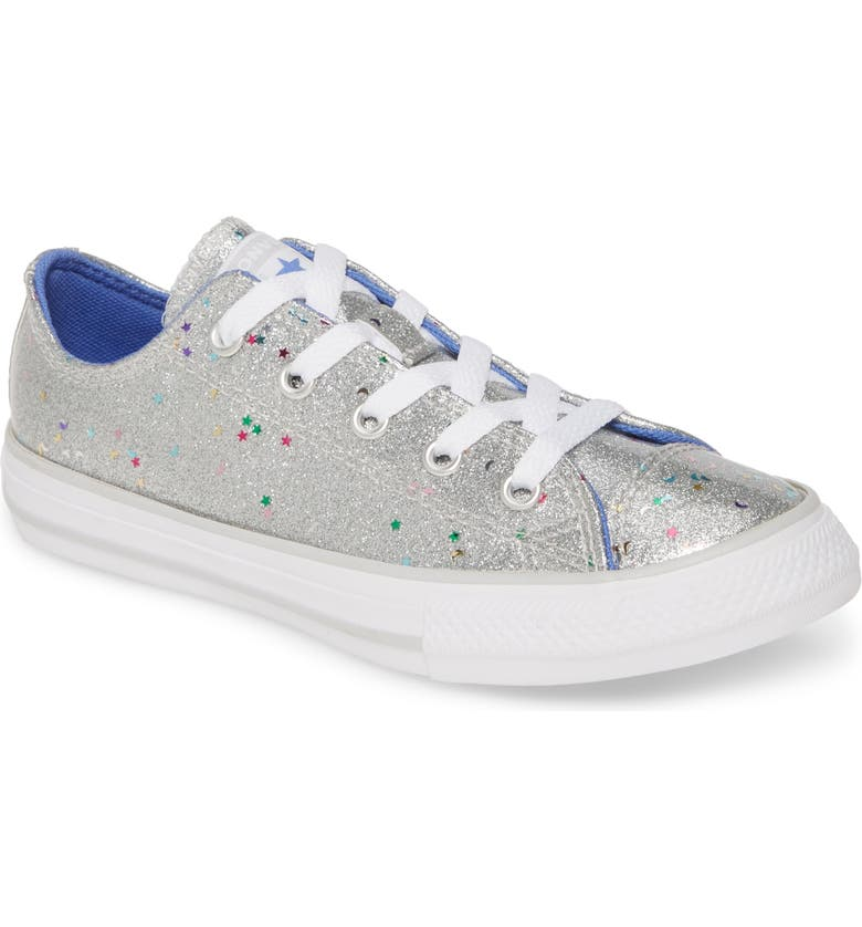 CONVERSE Chuck Taylor<sup>®</sup> All Star<sup>®</sup> Glitter Galaxy Low Top Sneaker, Main, color, SILVER/ OZONE BLUE/ WHITE