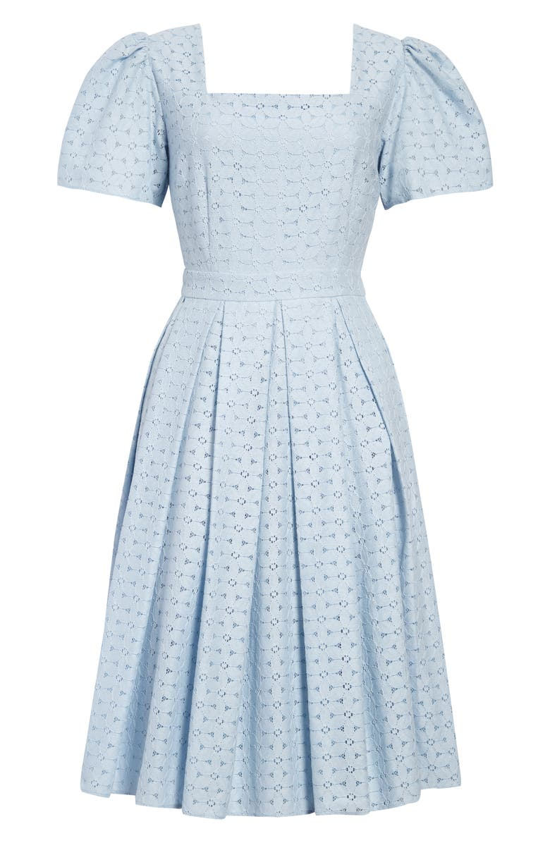 RACHEL PARCELL Lace Fit & Flare Dress, Main, color, BLUE SKYWAY