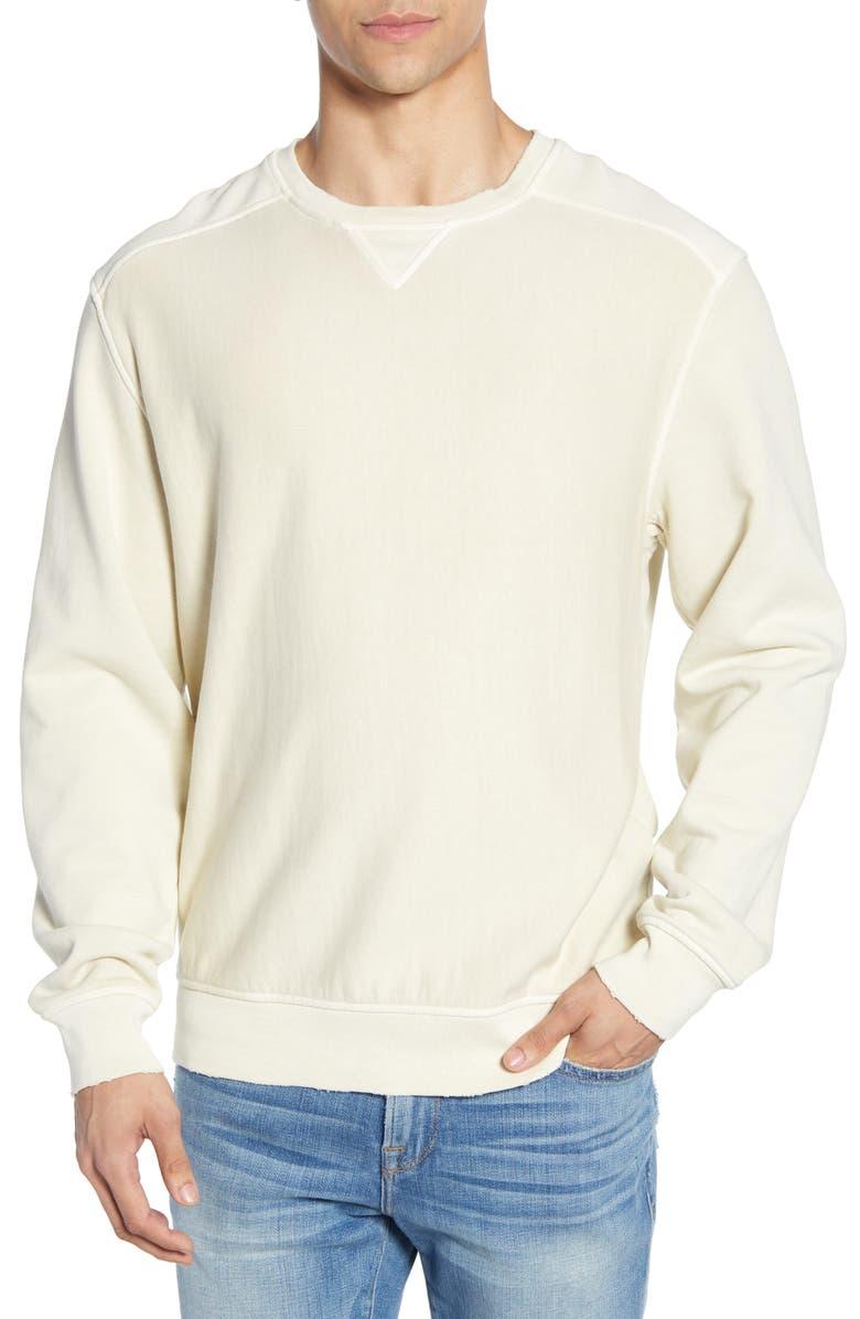 FRAME Destroyed Crewneck Sweatshirt, Main, color, FADED LINEN