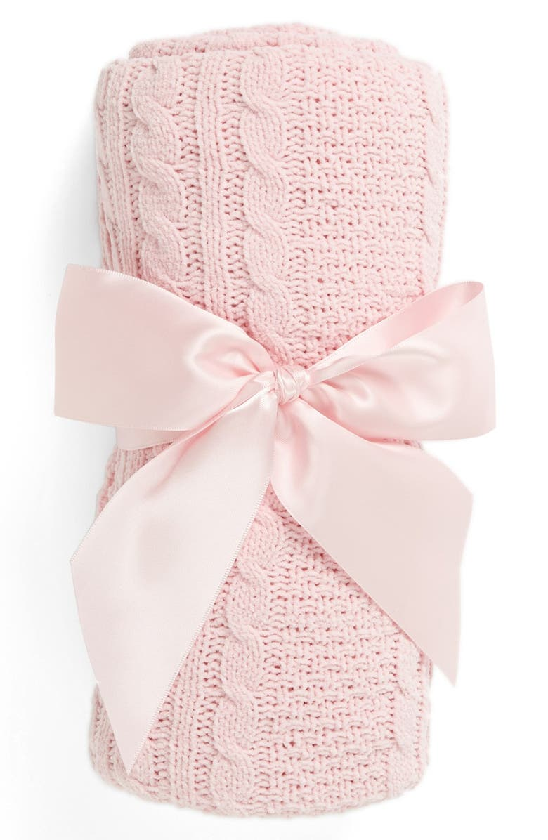 NORDSTROM BABY Cable Knit Blanket, Main, color, PINK BABY