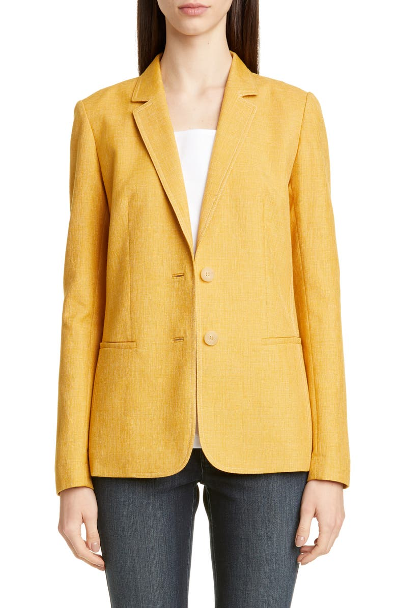 LAFAYETTE 148 NEW YORK Briallen Basket Weave Blazer, Main, color, MARIGOLD