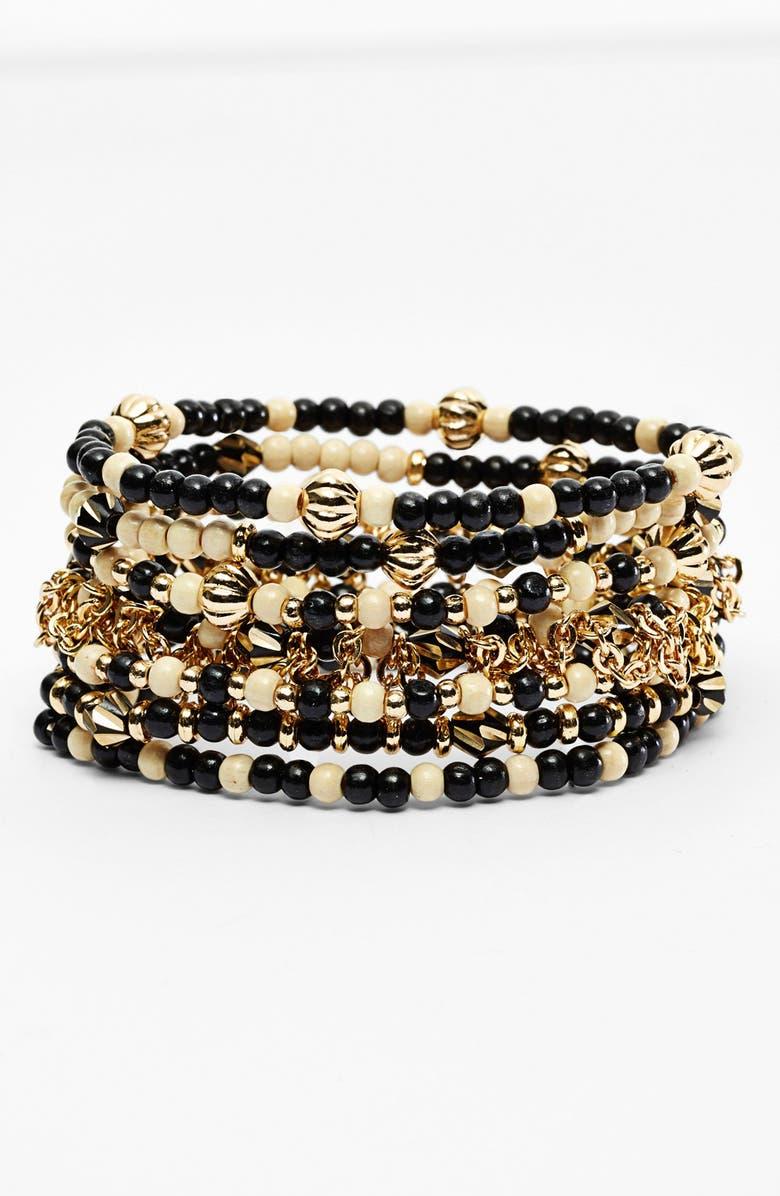 NORDSTROM 'Safari' Beaded Stretch Bracelet, Main, color, 001
