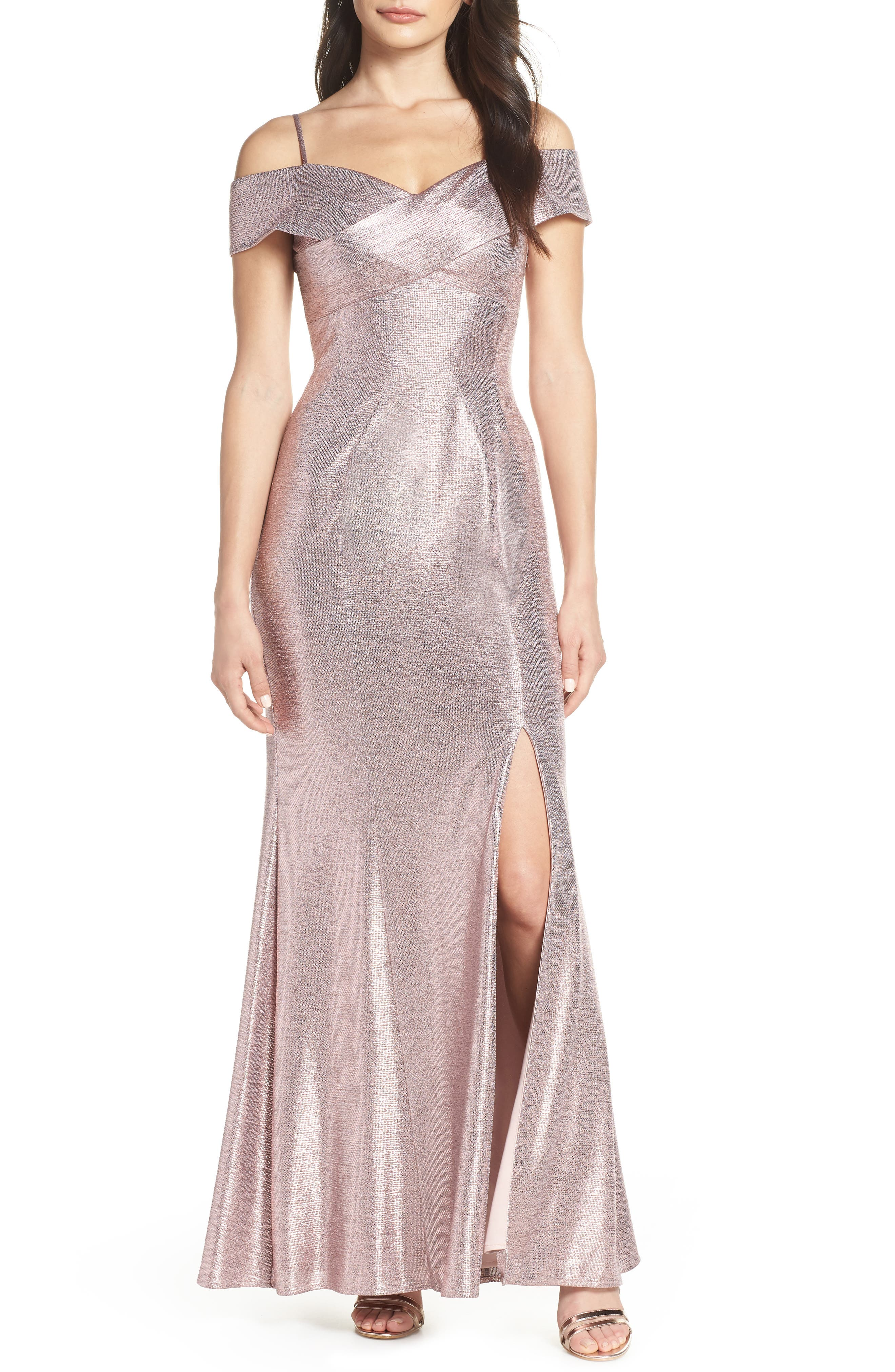 Morgan & Co. Crisscross Portrait Collar Metallic Evening Dress, Pink
