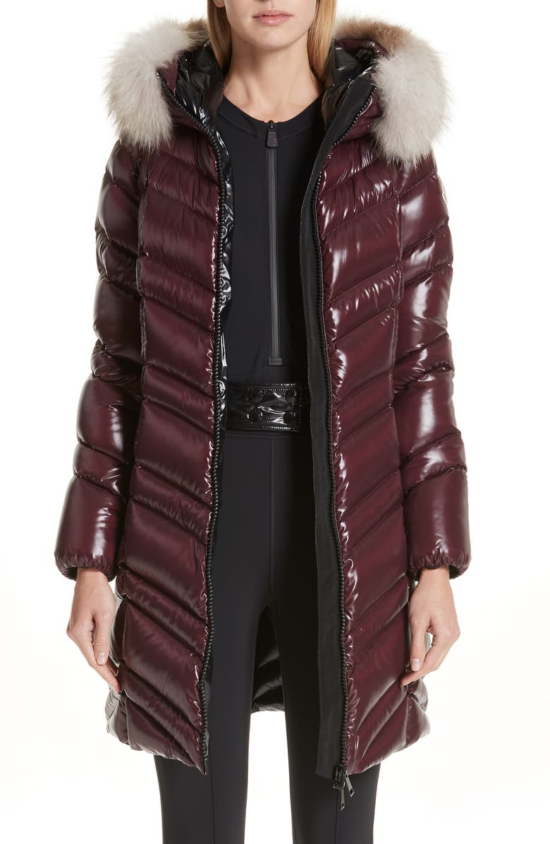 MONCLER Fulmar Hooded Down Puffer Coat with Removable Genuine Fox Fur Trim, Main, color, BURGUNDY
