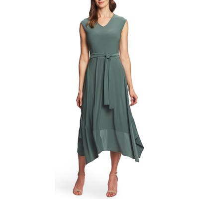 Chaus Cap Sleeve Shark Bite Hem Dress, Green