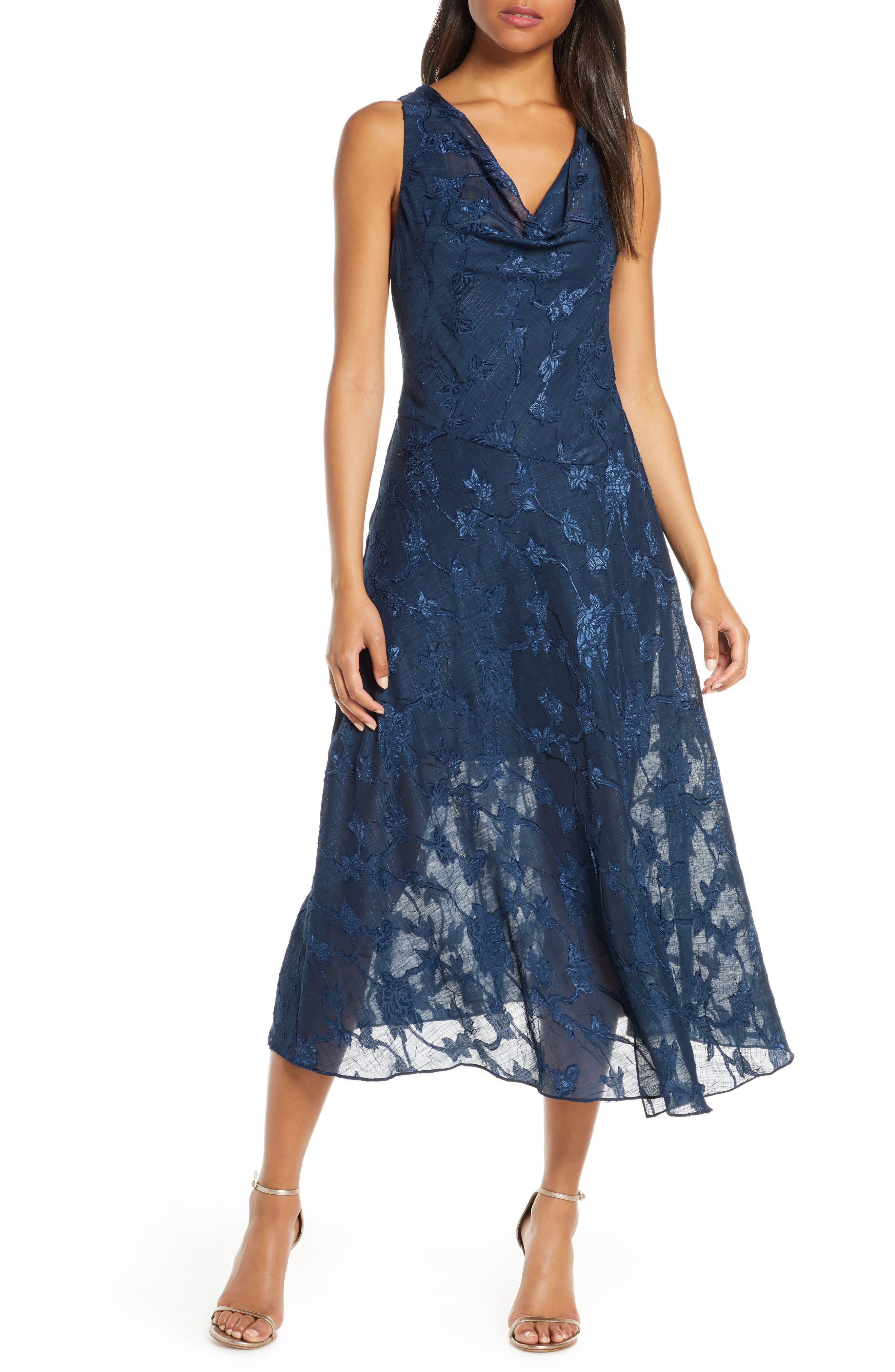Eliza J Cowl Neck Jacquard Midi Dress, Blue