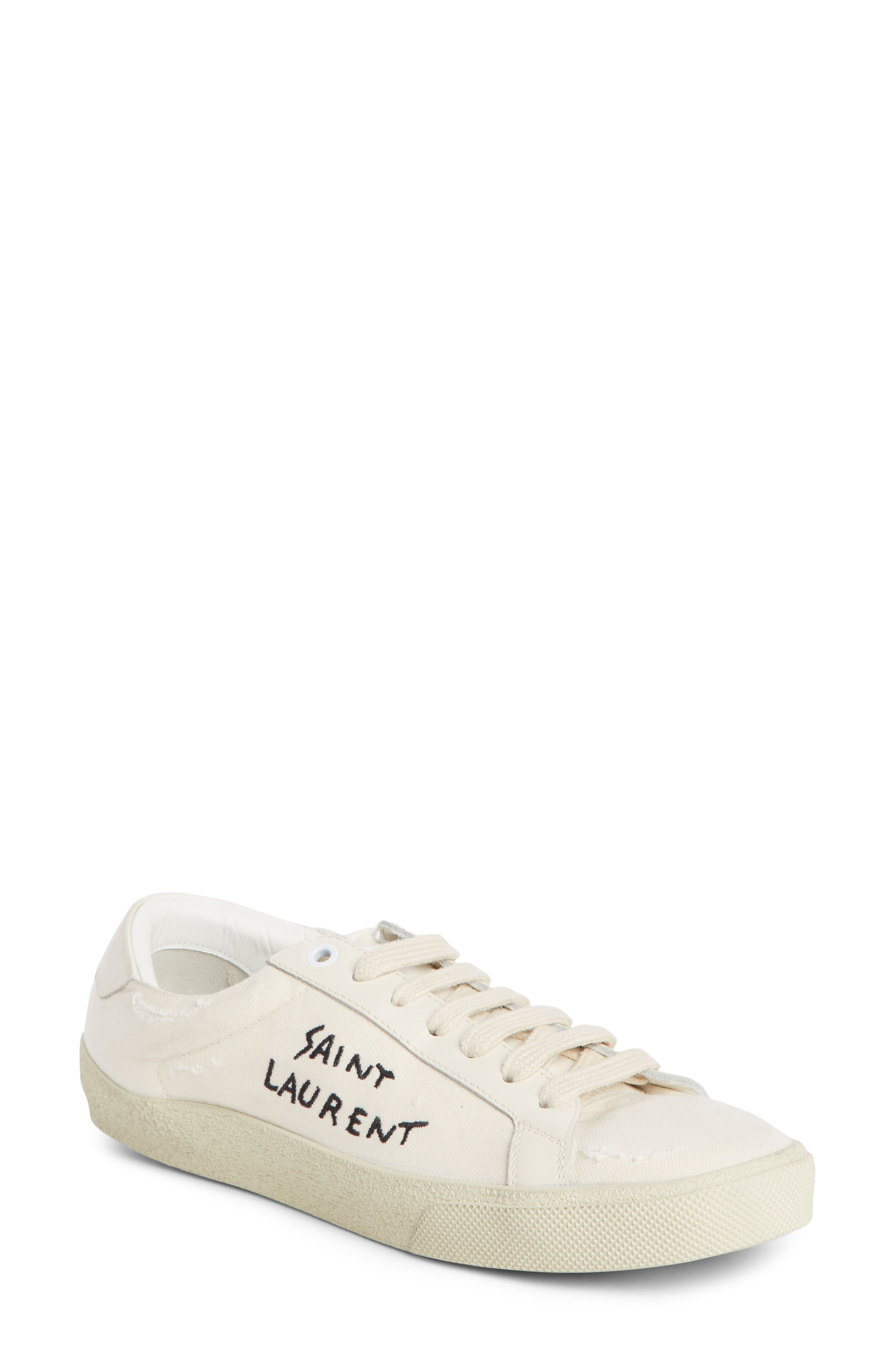 Saint Laurent Court Classic Embroidered Sneaker, Ivory