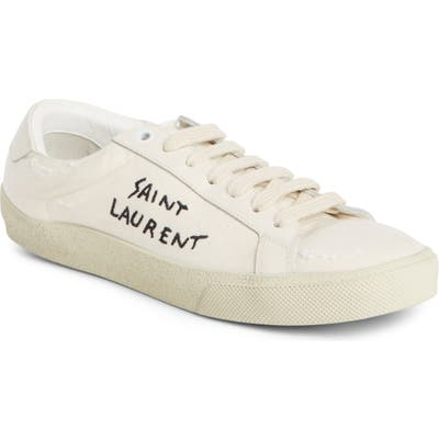 Saint Laurent Court Classic Embroidered Sneaker - Ivory