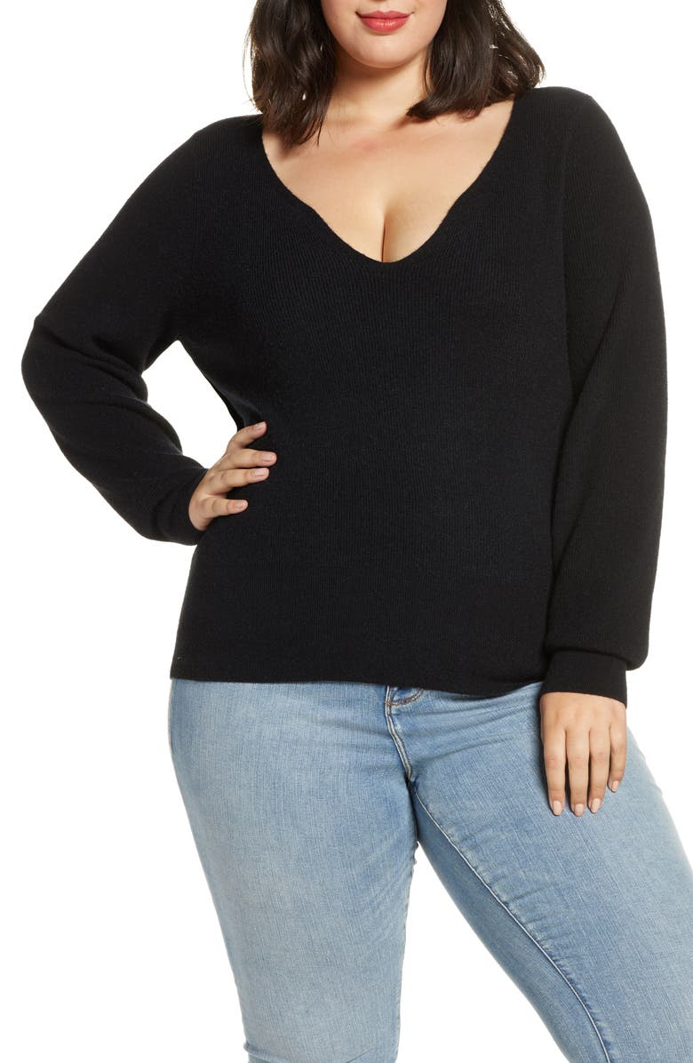 LEITH Shaped Neck Sweater, Main, color, BLACK
