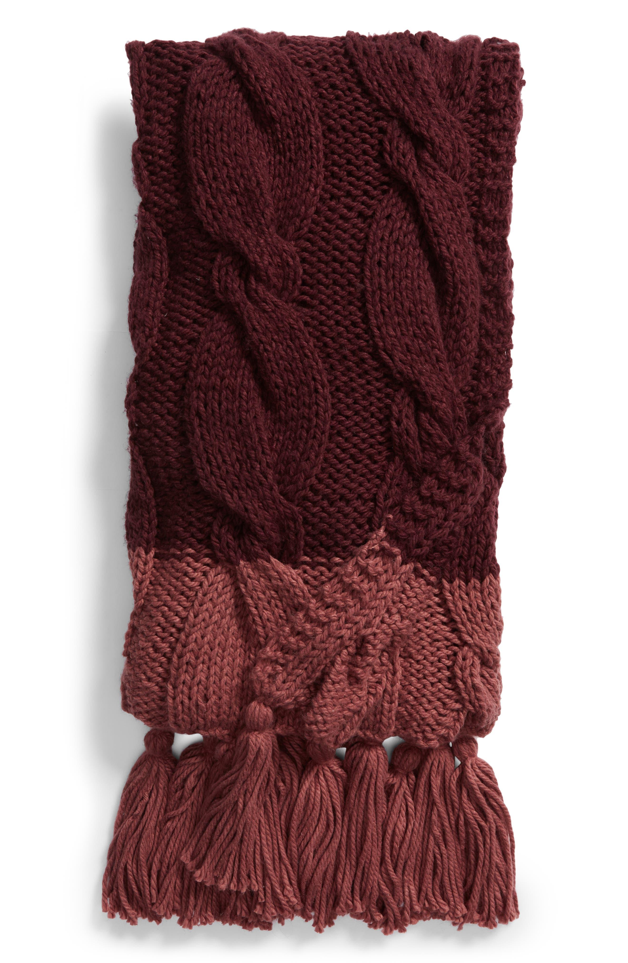 Cable Knit Tassel Throw Blanket, Main, color, BURGUNDY STEM