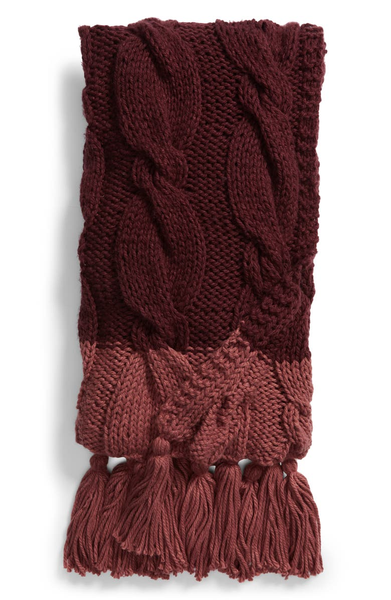 NORDSTROM AT HOME Cable Knit Tassel Throw Blanket, Main, color, 930