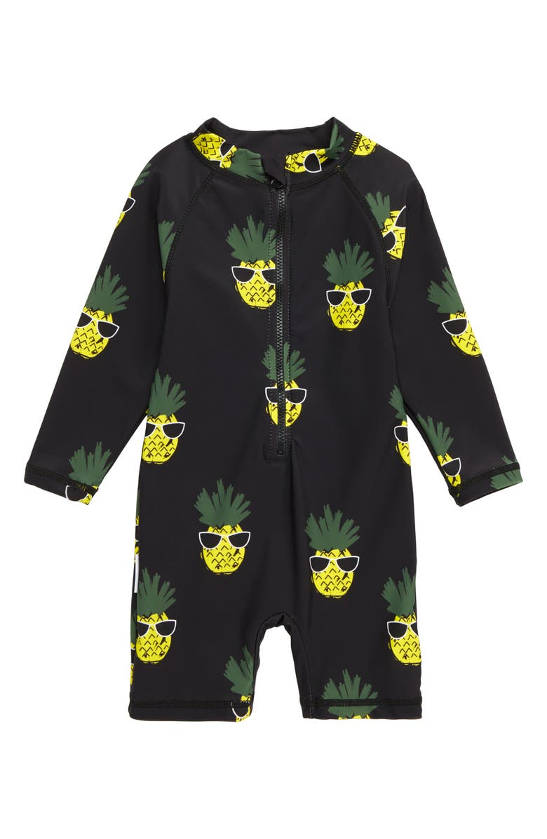 TINY TRIBE Pineapple One-Piece Rashguard Swimsuit, Main, color, 001