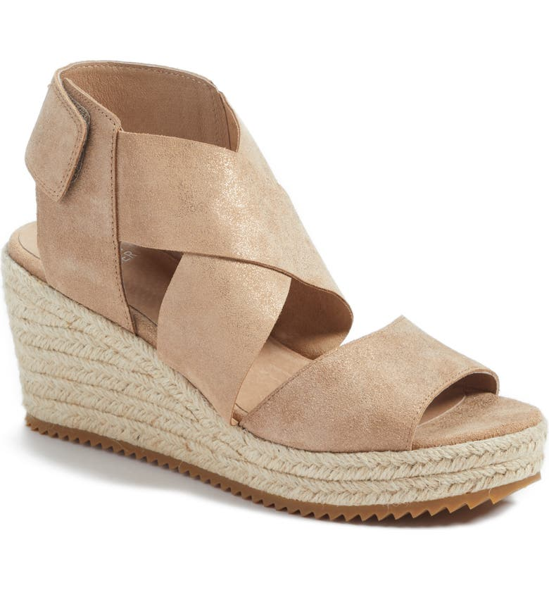 EILEEN FISHER 'Willow' Espadrille Wedge Sandal, Main, color, LIGHT GOLD STARRY LEATHER