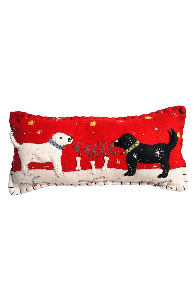 NEW WORLD ARTS 'Two Dogs' Accent Pillow, Main, color, RED