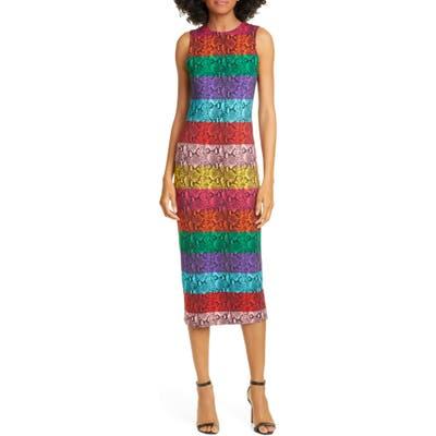 Alice + Olivia Delora Rainbow Snake Print Dress, Blue
