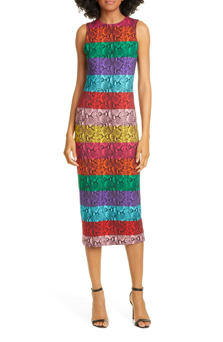 ALICE + OLIVIA Delora Rainbow Snake Print Dress, Main, color, 487
