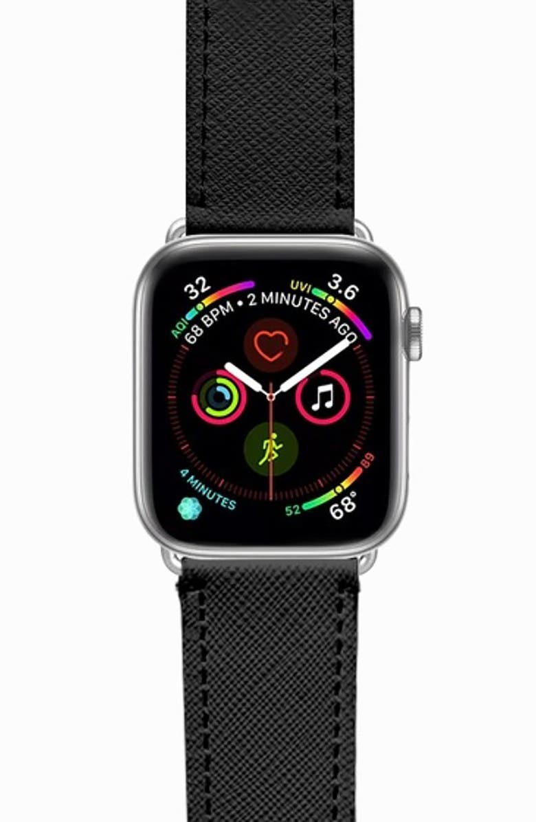 CASETIFY Essential Saffiano Faux Leather Apple Watch<sup>®</sup> Strap, Main, color, 001