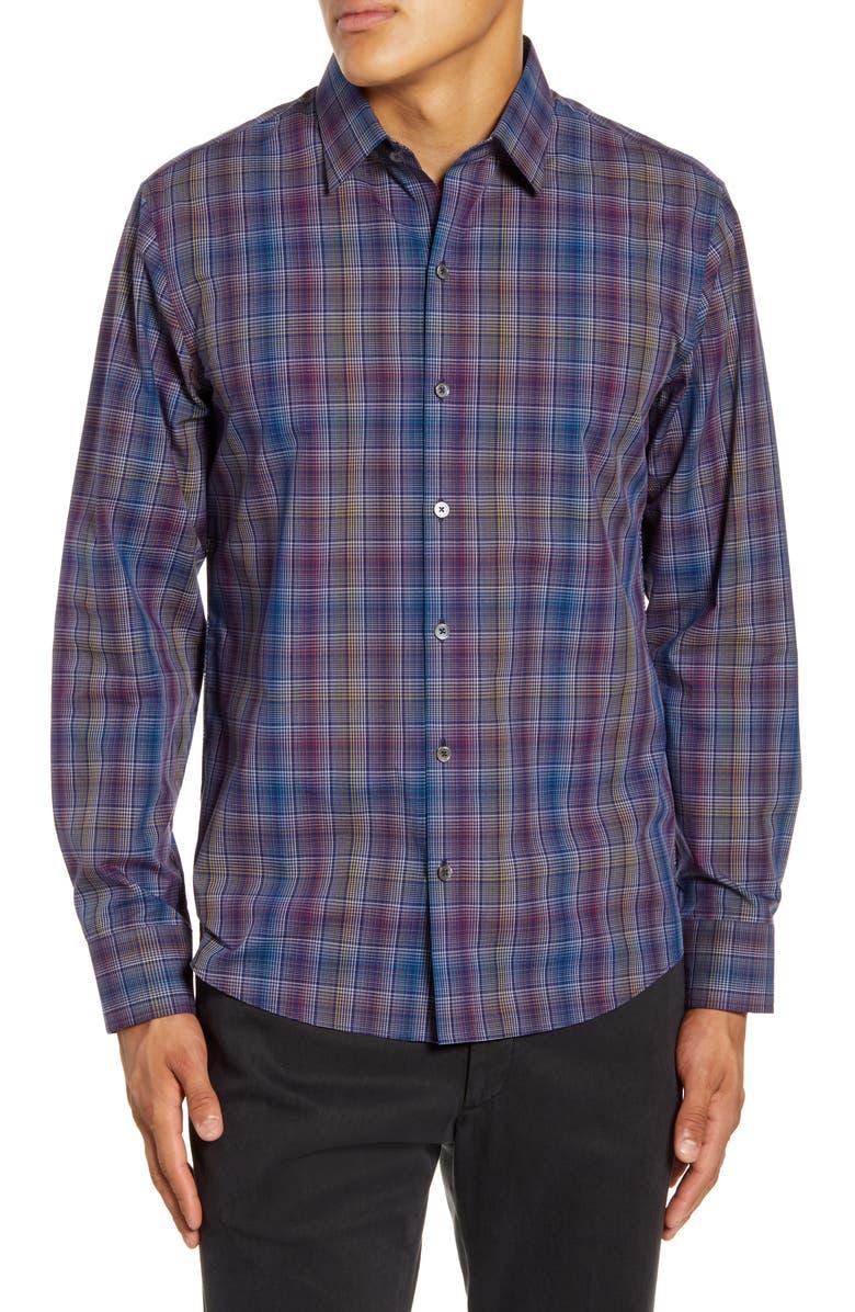 ZACHARY PRELL Kong Regular Fit Plaid Button-Up Shirt, Main, color, DARK BLUE