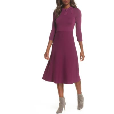 Eliza J Bow Collar Fit & Flare Sweater Dress, Burgundy