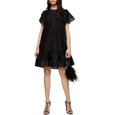 Topshop Check Organza Minidress, US (fits like 6-8) - Black