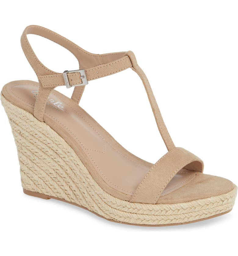 CHARLES BY CHARLES DAVID Lili T-Strap Wedge Sandal, Main, color, NUDE FABRIC