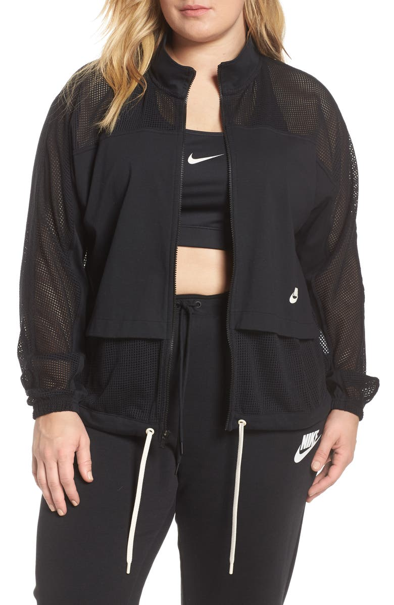 NIKE Mesh Jacket, Main, color, BLACK/ BLACK/ PALE IVORY